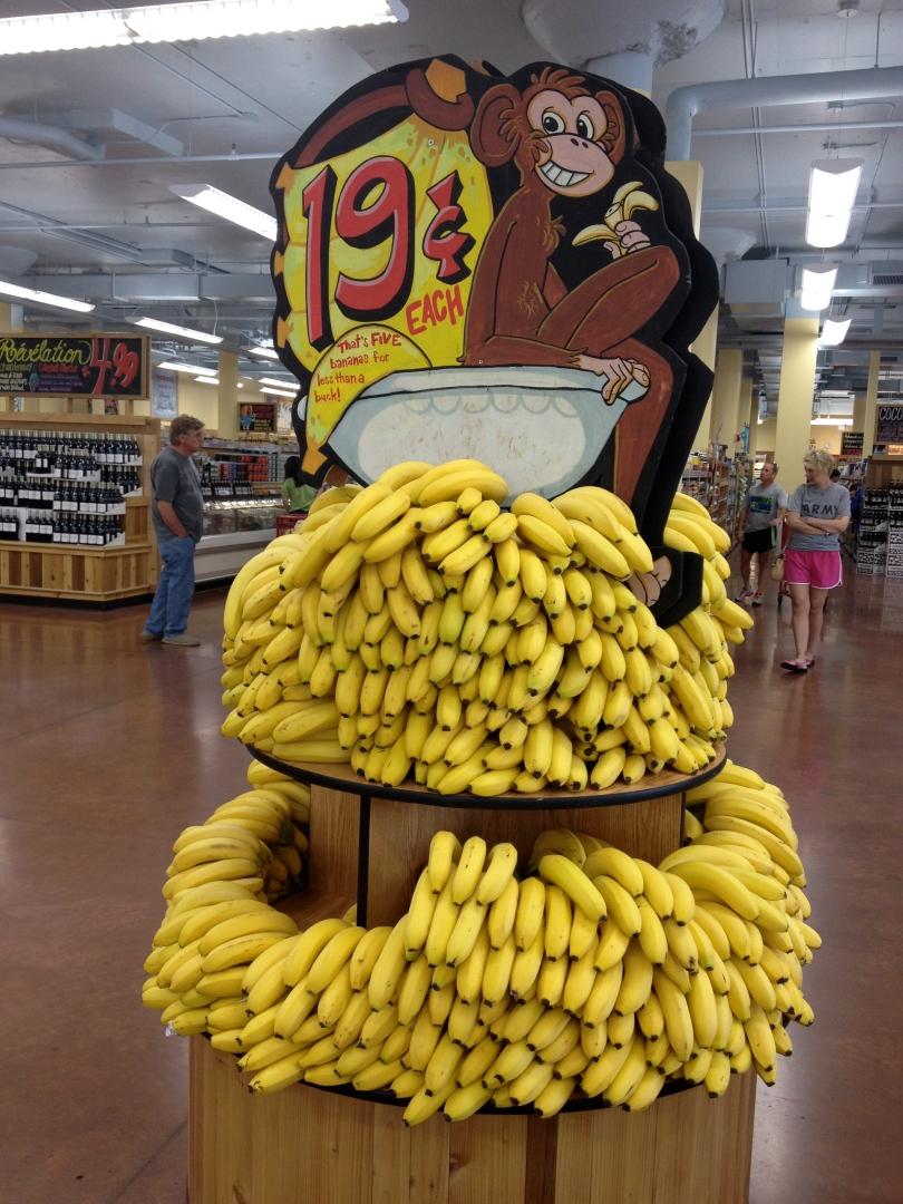 Tj's bananas, 19 cents each - No joke!