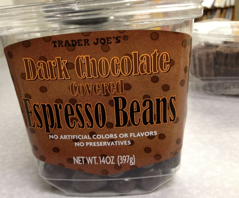 Dark chocolate espresso beans by Trader Joe's