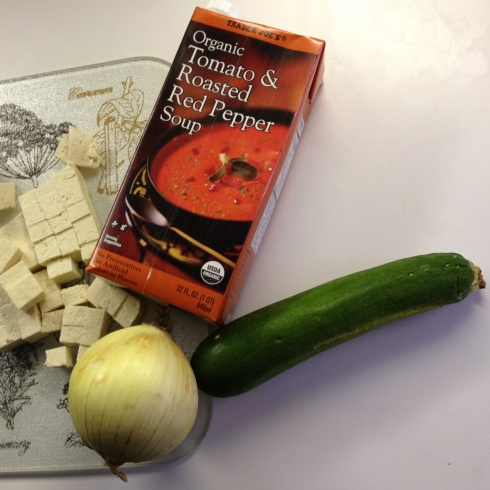 Tofu, onion and zucchini join TJ's box of soup