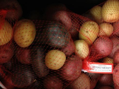 A sack of potatos - latkes in the raw.