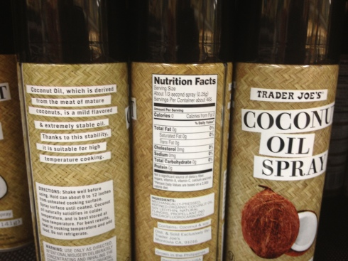 Ingredients and facts about Trader Joe's Coconut OIl Spray