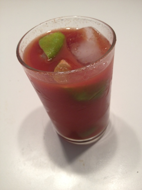 A glass of Bloody Mary mix made to order