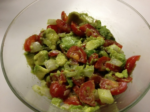 The meeting of healthy foods: avocados, tomatos and onions