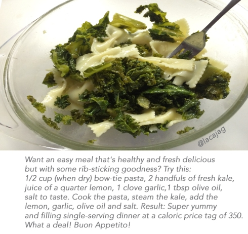 The intersection of fresh kale and hearty pasta